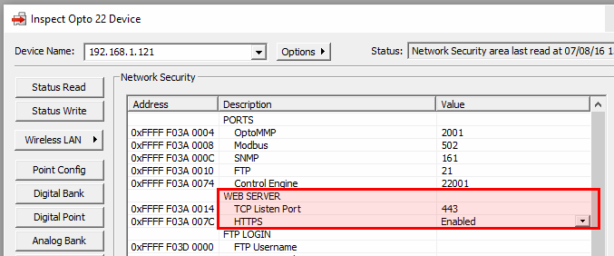 PAC Manager Network Security Settings